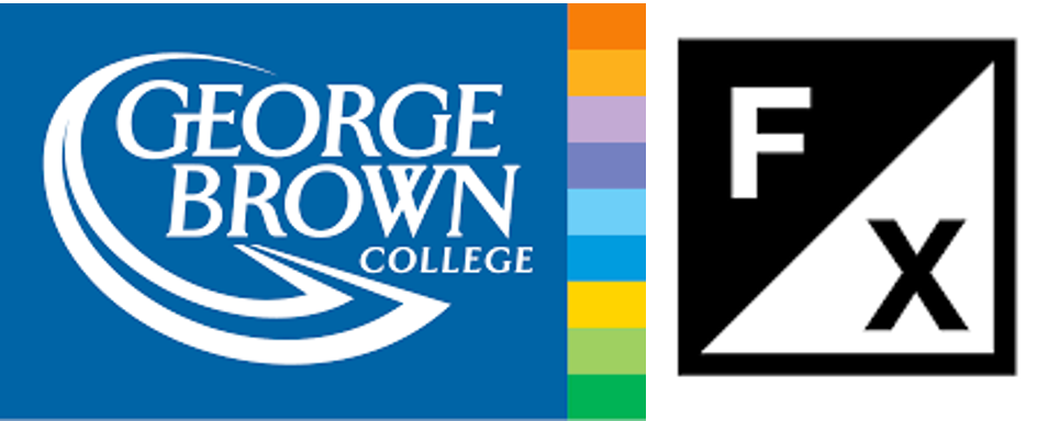 George Brown College Logo and a black and white box reading the letters F X