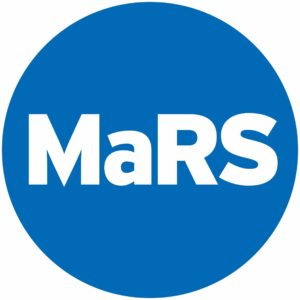 A blue circle with white text reading MaRS to form the MaRS Discovery District logo. Clicking on image redirects to the MaRS website.