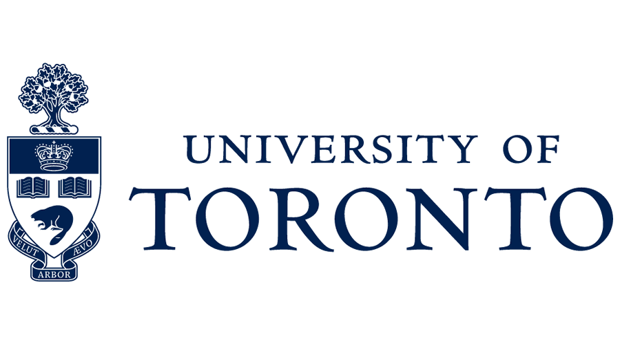 University of Toronto logo with a blue insignia with a tree, crown, books, badger, and the words Velut, Aevo, and Arbor