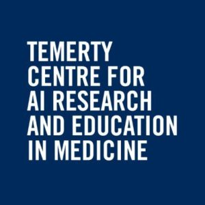 Temerty Centre for AI Research and Education in Medicine in white text in dark blue background